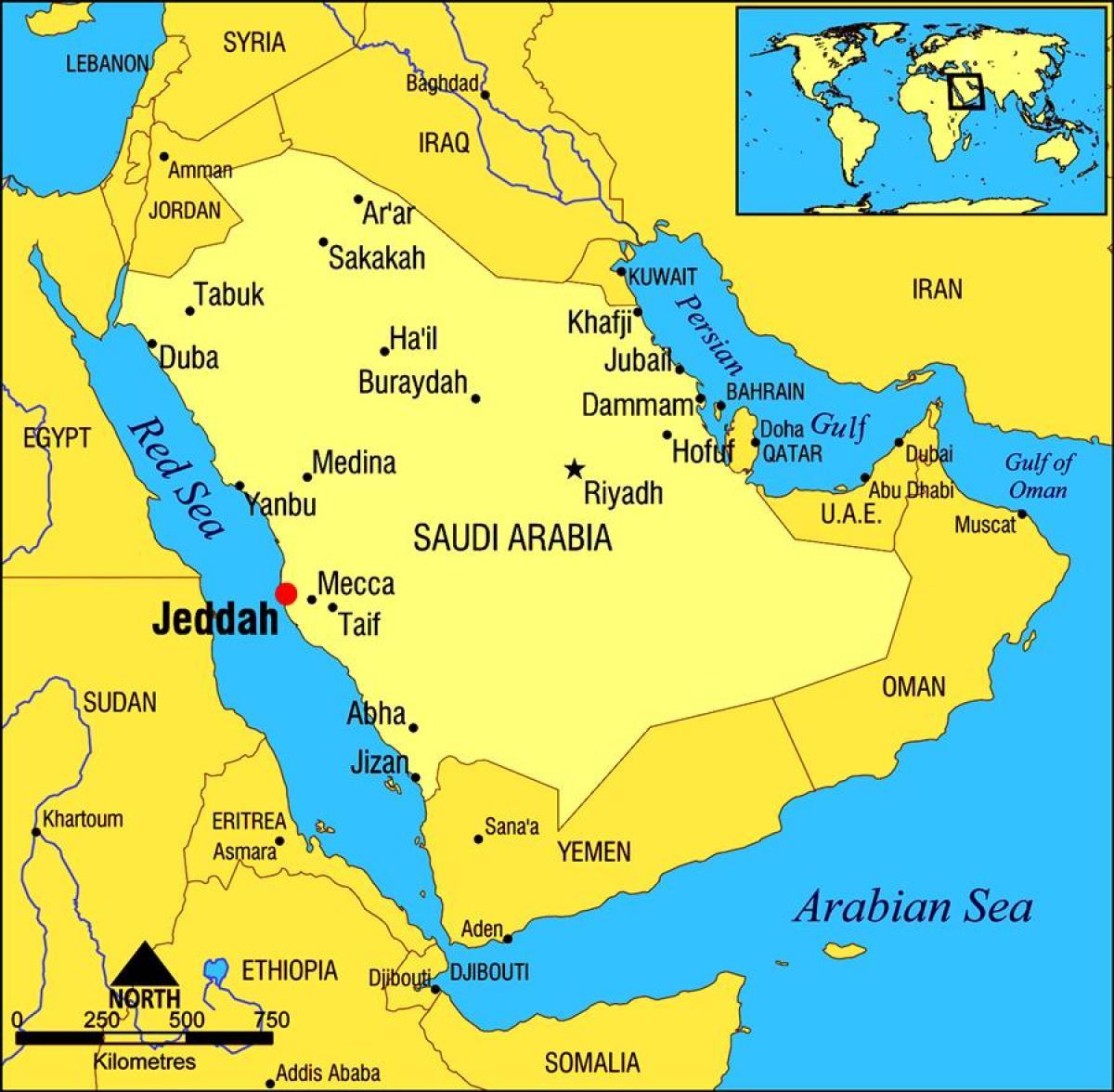 Jeddah Saudi Arabia Kartta Jeddah Saudi Arabian Kartta Lansi